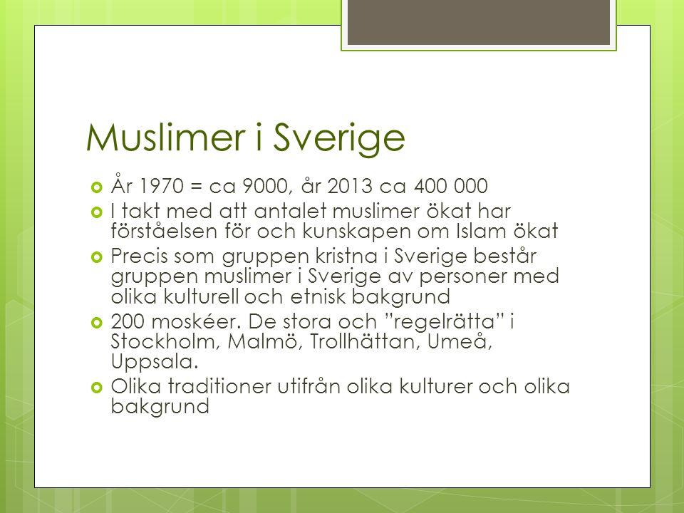 Muslimer i Sverige  År 1970 = ca 9000, år 2013 ca 400 000  I takt med att antalet muslimer ökat har förståelsen för och kunskapen om Islam ökat  Precis som gruppen kristna i Sverige består gruppen muslimer i Sverige av personer med olika kulturell och etnisk bakgrund  200 moskéer.
