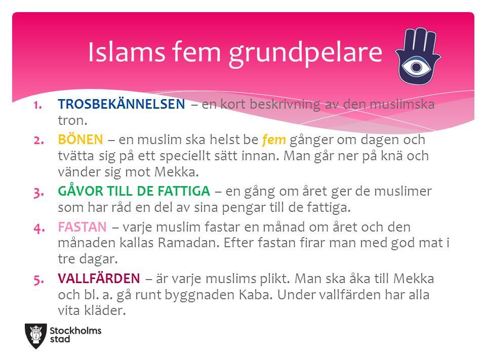 1.TROSBEKÄNNELSEN – en kort beskrivning av den muslimska tron.