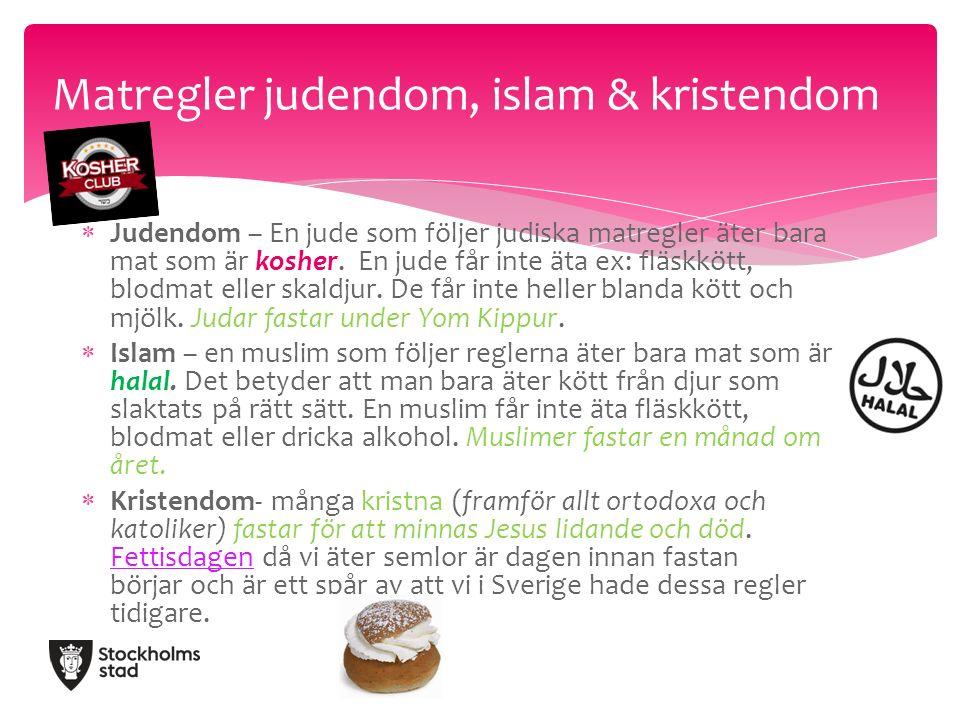  Judendom – En jude som följer judiska matregler äter bara mat som är kosher.