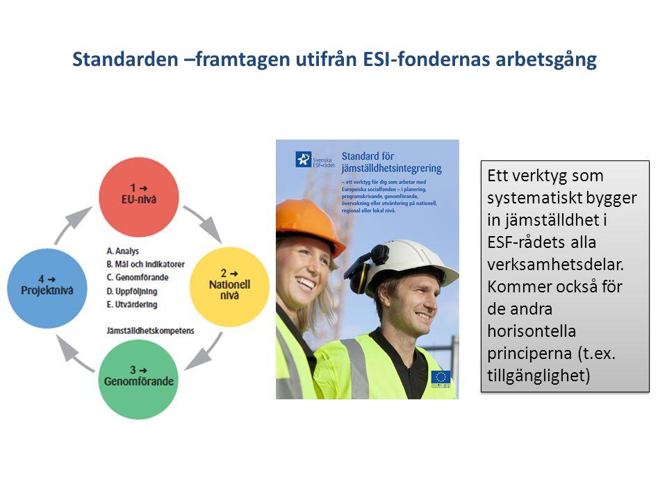 Standarden –framtagen utifrån ESI-fondernas arbetsgång Ett verktyg som systematiskt bygger in jämställdhet i ESF-rådets alla verksamhetsdelar.