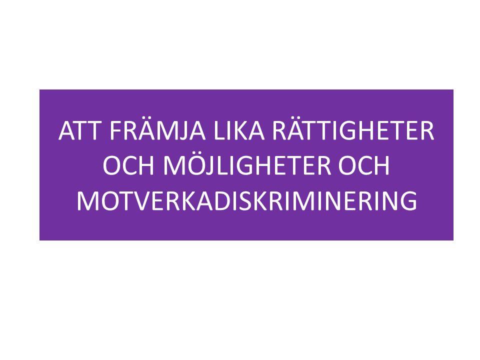 ATT FRÄMJA LIKA RÄTTIGHETER OCH MÖJLIGHETER OCH MOTVERKADISKRIMINERING