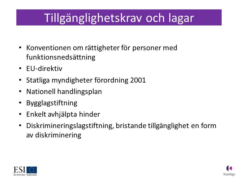Konventionen om rättigheter för personer med funktionsnedsättning EU-direktiv Statliga myndigheter förordning 2001 Nationell handlingsplan Bygglagstiftning Enkelt avhjälpta hinder Diskrimineringslagstiftning, bristande tillgänglighet en form av diskriminering Tillgänglighetskrav och lagar