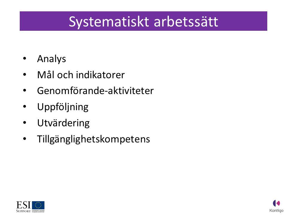 Analys Mål och indikatorer Genomförande-aktiviteter Uppföljning Utvärdering Tillgänglighetskompetens Systematiskt arbetssätt