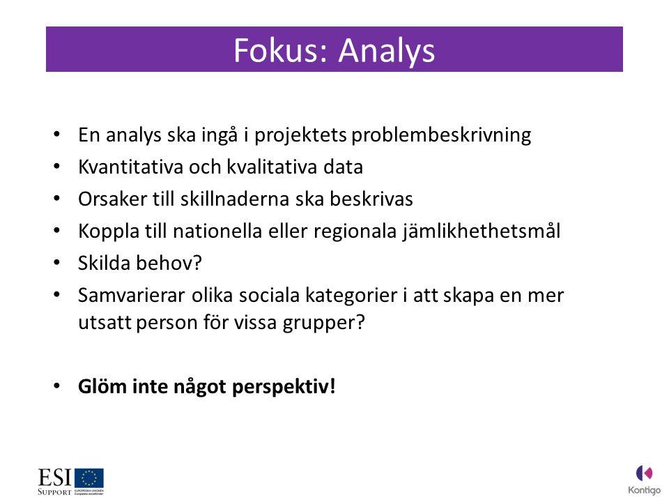 En analys ska ingå i projektets problembeskrivning Kvantitativa och kvalitativa data Orsaker till skillnaderna ska beskrivas Koppla till nationella eller regionala jämlikhethetsmål Skilda behov.