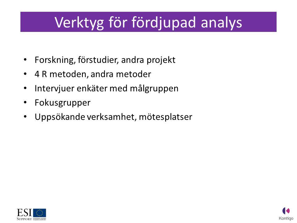 Forskning, förstudier, andra projekt 4 R metoden, andra metoder Intervjuer enkäter med målgruppen Fokusgrupper Uppsökande verksamhet, mötesplatser Verktyg för fördjupad analys