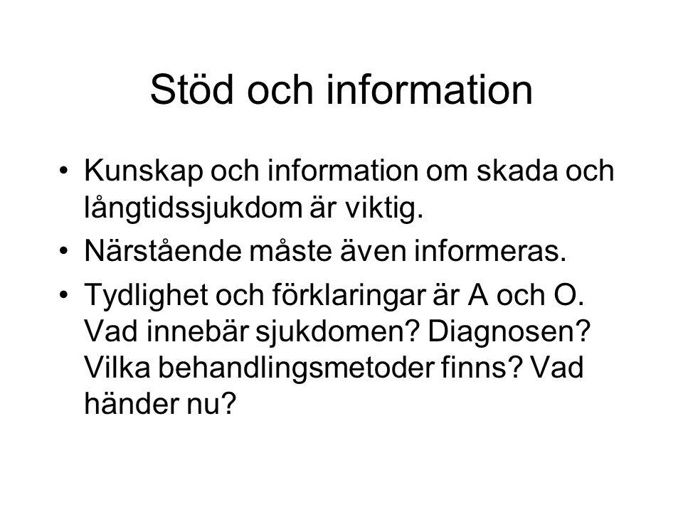 Stöd och information Kunskap och information om skada och långtidssjukdom är viktig. Närstående måste även informeras. Tydlighet och förklaringar är A