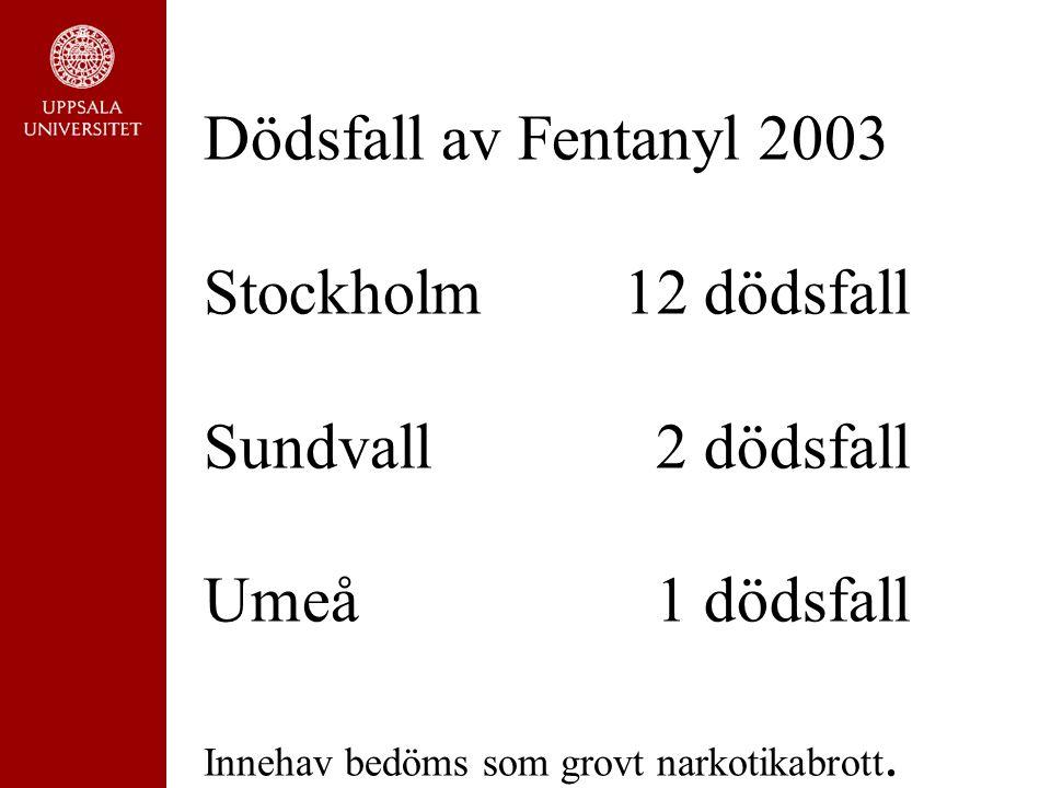 Dödsfall av Fentanyl 2003 Stockholm12 dödsfall Sundvall 2 dödsfall Umeå 1 dödsfall Innehav bedöms som grovt narkotikabrott.