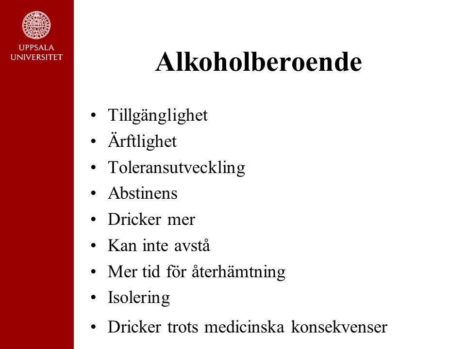 Alkoholberoende Tillgänglighet Ärftlighet Toleransutveckling Abstinens Dricker mer Kan inte avstå Mer tid för återhämtning Isolering Dricker trots med