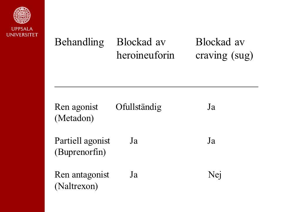 Vad får missbrukaren? Behandling Blockad avBlockad av heroineuforincraving (sug) _____________________________________ Ren agonist Ofullständig Ja (Me
