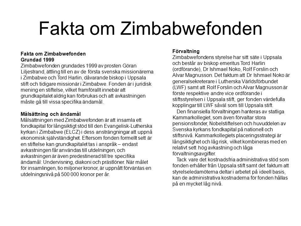 Fakta om Zimbabwefonden Grundad 1999 Zimbabwefonden grundades 1999 av prosten Göran Liljestrand, ättling till en av de första svenska missionärerna i Zimbabwe och Tord Harlin, dåvarande biskop i Uppsala stift och tidigare missionär i Zimbabwe.