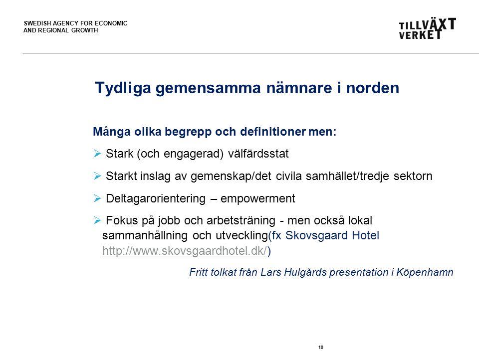 SWEDISH AGENCY FOR ECONOMIC AND REGIONAL GROWTH Tydliga gemensamma nämnare i norden Många olika begrepp och definitioner men:  Stark (och engagerad)