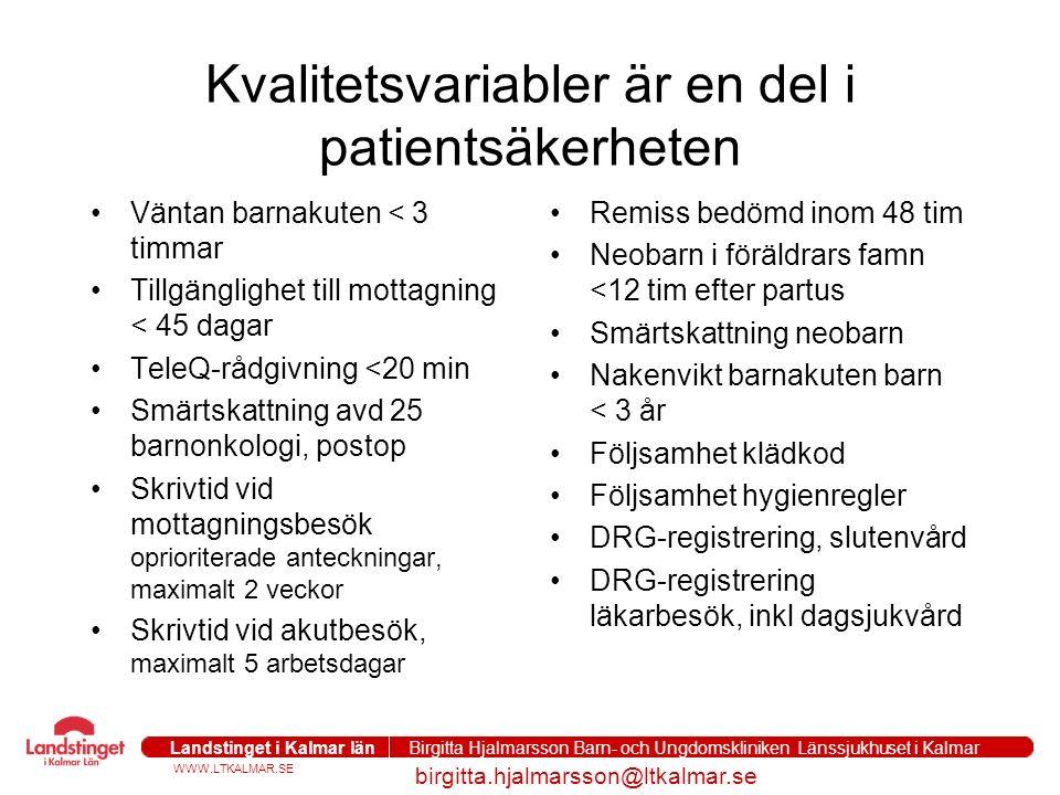 WWW.LTKALMAR.SE Landstinget i Kalmar län Birgitta Hjalmarsson Barn- och Ungdomskliniken Länssjukhuset i Kalmar birgitta.hjalmarsson@ltkalmar.se Kvalit