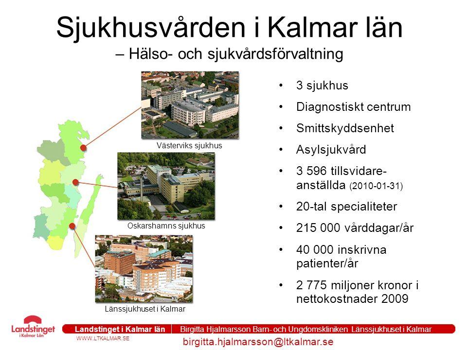 WWW.LTKALMAR.SE Landstinget i Kalmar län Birgitta Hjalmarsson Barn- och Ungdomskliniken Länssjukhuset i Kalmar birgitta.hjalmarsson@ltkalmar.se Sjukhusvården i Kalmar län – Hälso- och sjukvårdsförvaltning 3 sjukhus Diagnostiskt centrum Smittskyddsenhet Asylsjukvård 3 596 tillsvidare- anställda (2010-01-31) 20-tal specialiteter 215 000 vårddagar/år 40 000 inskrivna patienter/år 2 775 miljoner kronor i nettokostnader 2009 Västerviks sjukhus Oskarshamns sjukhus Länssjukhuset i Kalmar