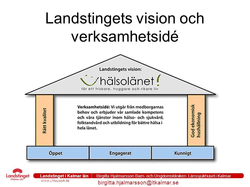 WWW.LTKALMAR.SE Landstinget i Kalmar län Birgitta Hjalmarsson Barn- och Ungdomskliniken Länssjukhuset i Kalmar birgitta.hjalmarsson@ltkalmar.se Landstingets vision och verksamhetsidé