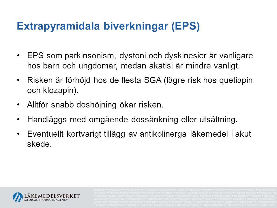 Extrapyramidala biverkningar (EPS) EPS som parkinsonism, dystoni och dyskinesier är vanligare hos barn och ungdomar, medan akatisi är mindre vanligt.