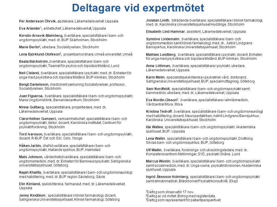 Deltagare vid expertmötet Per Andersson Öhrvik, apotekare, Läkemedelsverket, Uppsala Eva Arlander 1, enhetschef, Läkemedelsverket, Uppsala Kerstin Arn