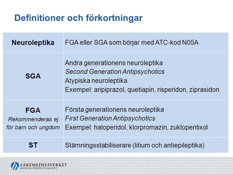 Definitioner och förkortningar Neuroleptika FGA eller SGA som börjar med ATC-kod N05A SGA Andra generationens neuroleptika Second Generation Antipsych