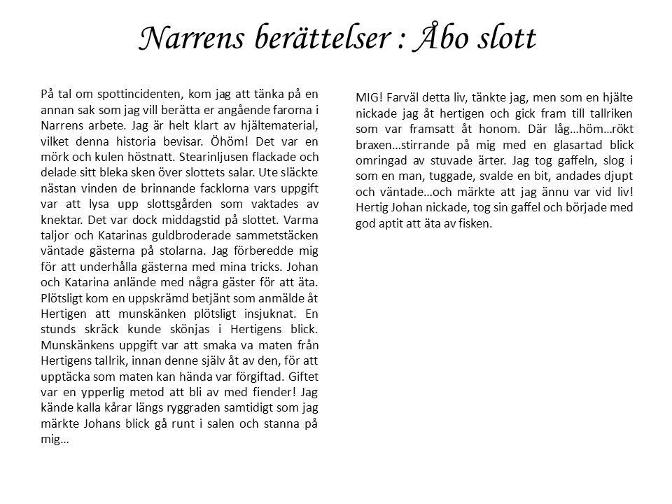 Narrens berättelser : Åbo slott På tal om spottincidenten, kom jag att tänka på en annan sak som jag vill berätta er angående farorna i Narrens arbete.