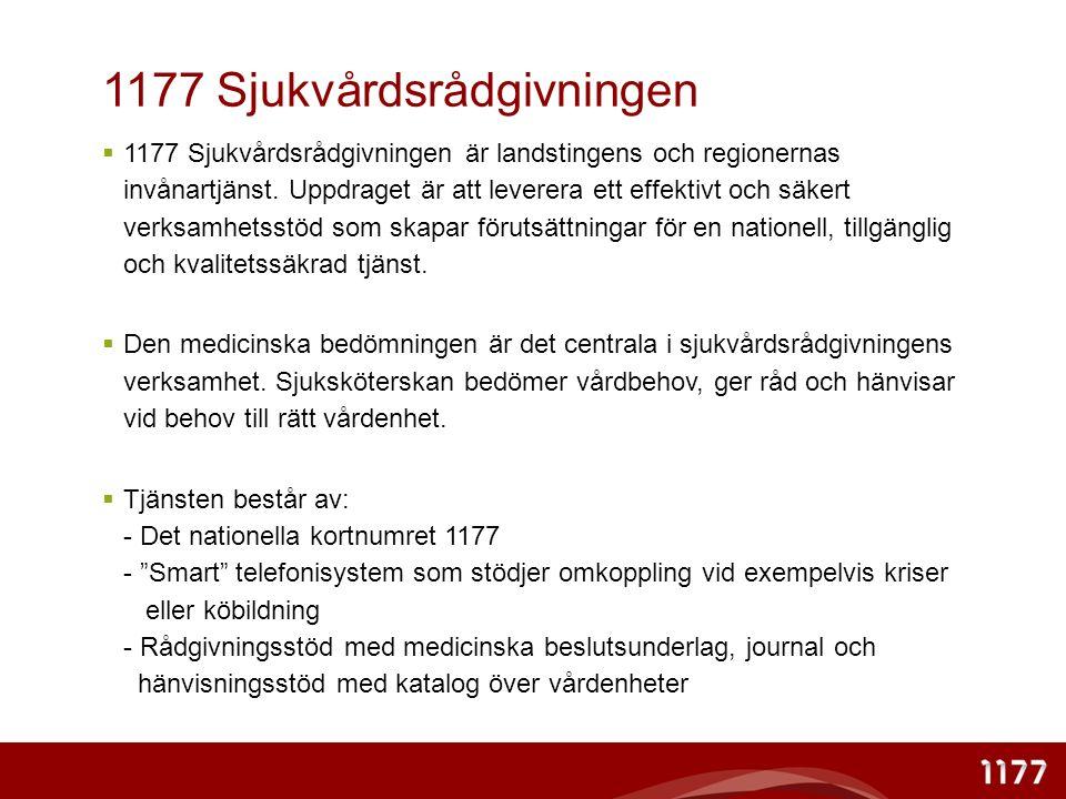 1177 Sjukvårdsrådgivningen  1177 Sjukvårdsrådgivningen är landstingens och regionernas invånartjänst.