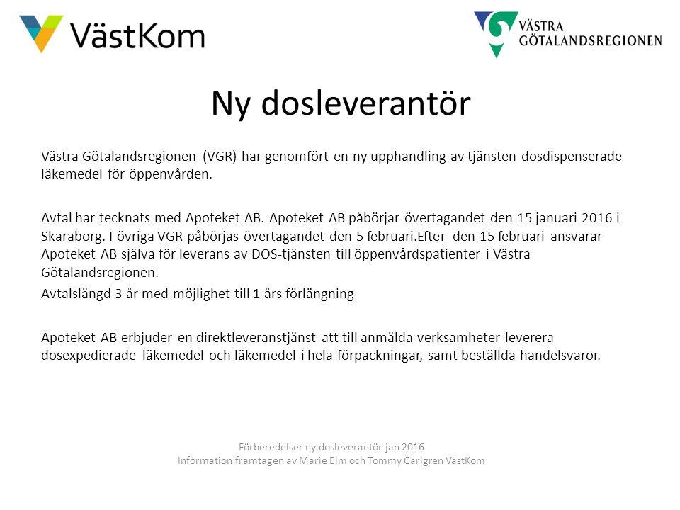 Ny dosleverantör Västra Götalandsregionen (VGR) har genomfört en ny upphandling av tjänsten dosdispenserade läkemedel för öppenvården. Avtal har teckn
