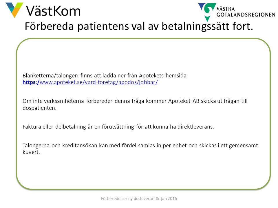 Förbereda patientens val av betalningssätt fort. Blanketterna/talongen finns att ladda ner från Apotekets hemsida https:/www.apoteket.se/vard-foretag/