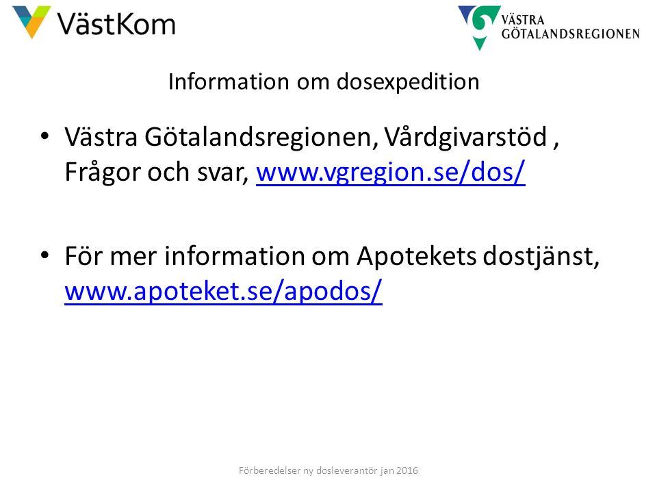 Information om dosexpedition Västra Götalandsregionen, Vårdgivarstöd, Frågor och svar, www.vgregion.se/dos/www.vgregion.se/dos/ För mer information om Apotekets dostjänst, www.apoteket.se/apodos/ www.apoteket.se/apodos/ Förberedelser ny dosleverantör jan 2016