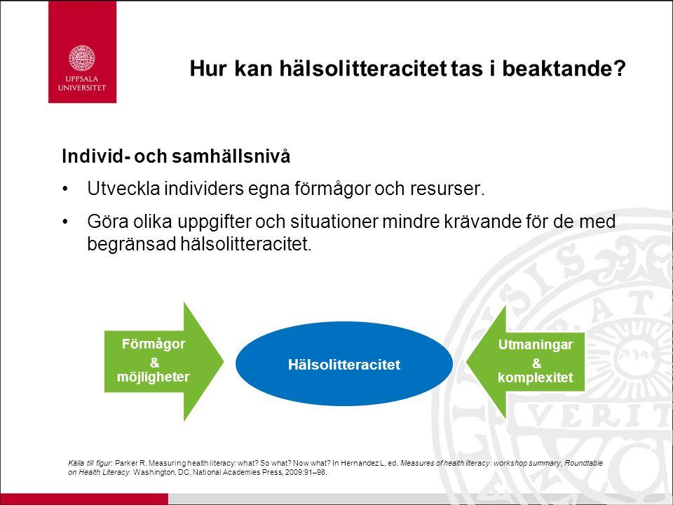 Hur kan hälsolitteracitet tas i beaktande? Individ- och samhällsnivå Utveckla individers egna förmågor och resurser. Göra olika uppgifter och situatio
