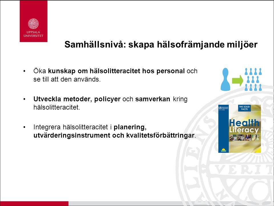 Samhällsnivå: skapa hälsofrämjande miljöer Öka kunskap om hälsolitteracitet hos personal och se till att den används. Utveckla metoder, policyer och s