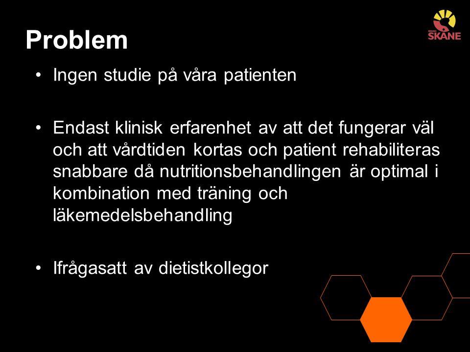 Problem Ingen studie på våra patienten Endast klinisk erfarenhet av att det fungerar väl och att vårdtiden kortas och patient rehabiliteras snabbare d