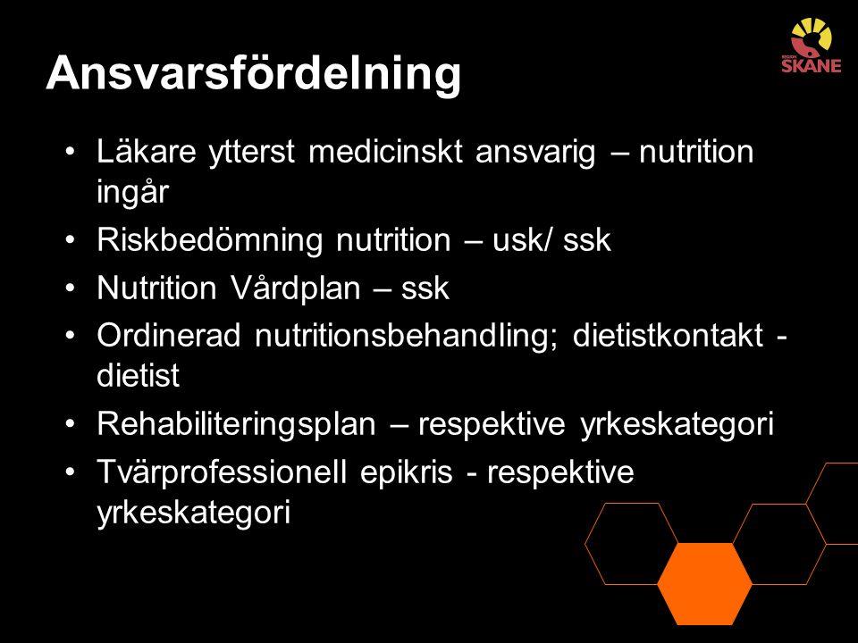 Ansvarsfördelning Läkare ytterst medicinskt ansvarig – nutrition ingår Riskbedömning nutrition – usk/ ssk Nutrition Vårdplan – ssk Ordinerad nutrition