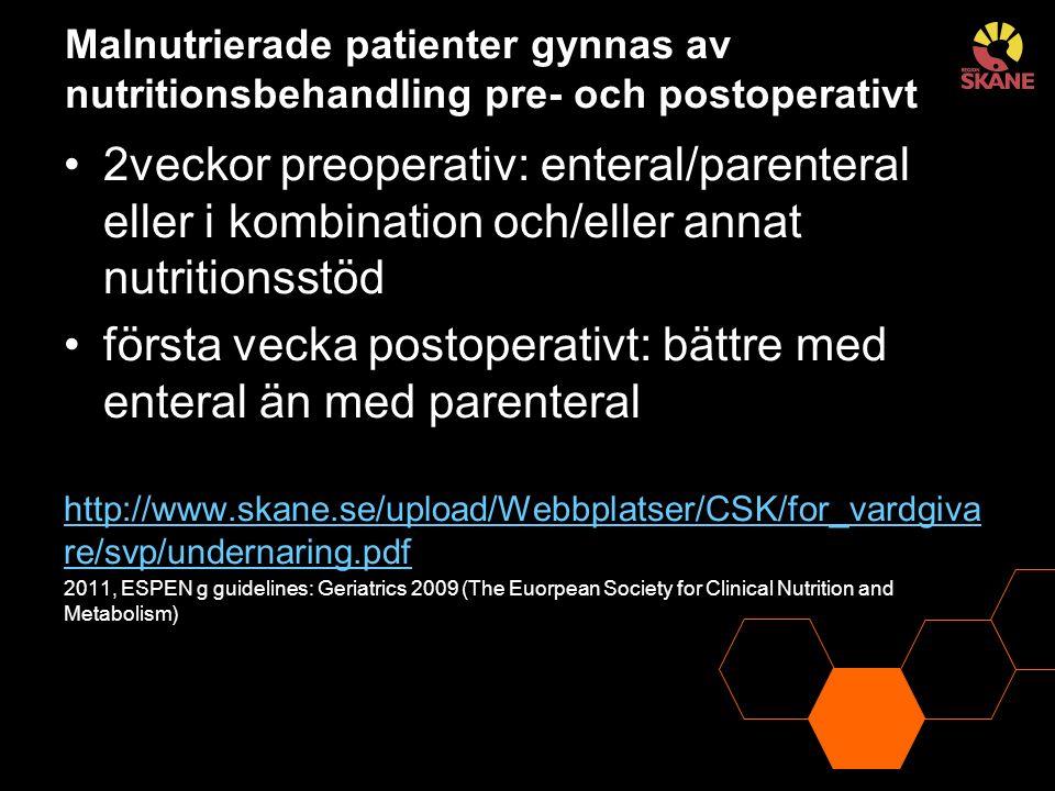 Malnutrierade patienter gynnas av nutritionsbehandling pre- och postoperativt 2veckor preoperativ: enteral/parenteral eller i kombination och/eller an