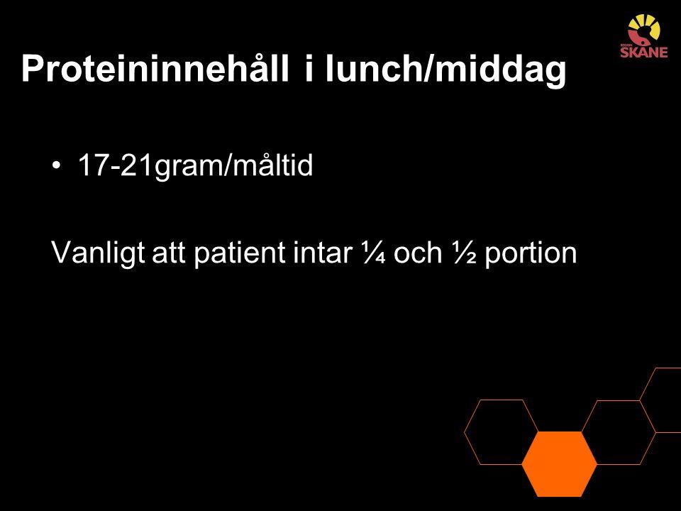 Proteininnehåll i lunch/middag 17-21gram/måltid Vanligt att patient intar ¼ och ½ portion