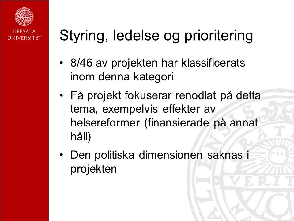 Styring, ledelse og prioritering 8/46 av projekten har klassificerats inom denna kategori Få projekt fokuserar renodlat på detta tema, exempelvis effekter av helsereformer (finansierade på annat håll) Den politiska dimensionen saknas i projekten