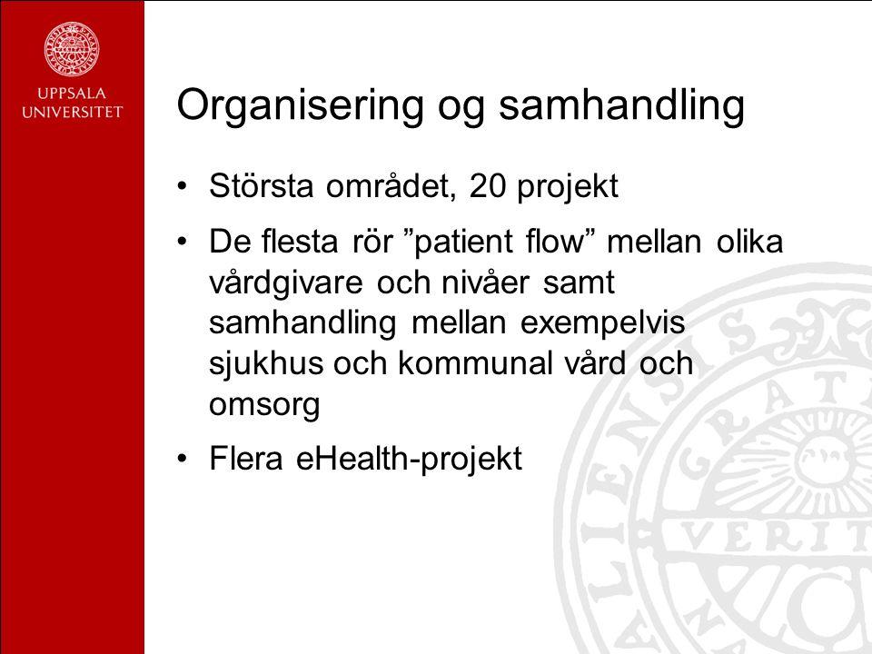 Organisering og samhandling Största området, 20 projekt De flesta rör patient flow mellan olika vårdgivare och nivåer samt samhandling mellan exempelvis sjukhus och kommunal vård och omsorg Flera eHealth-projekt