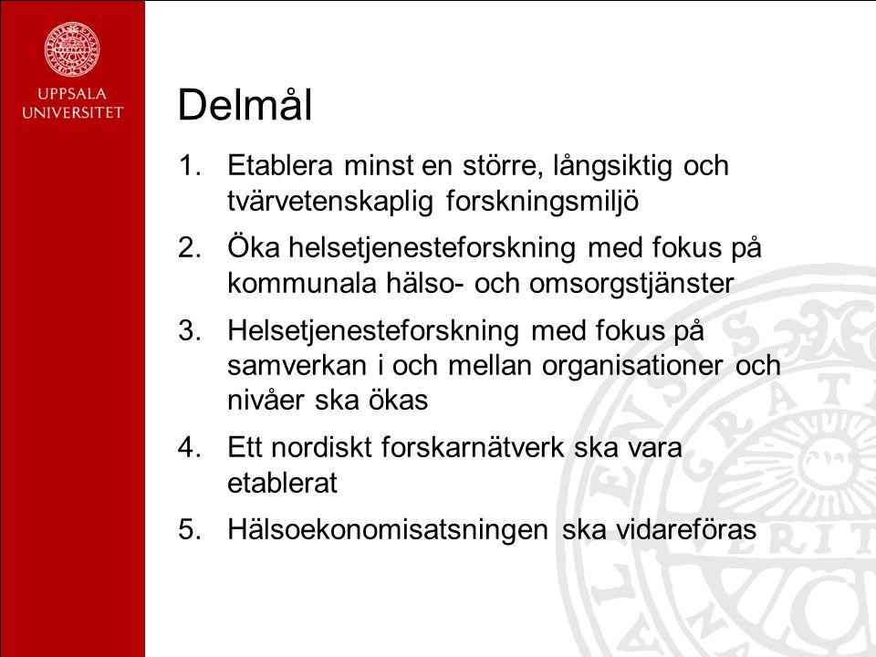 Delmål 1.Etablera minst en större, långsiktig och tvärvetenskaplig forskningsmiljö 2.Öka helsetjenesteforskning med fokus på kommunala hälso- och omsorgstjänster 3.Helsetjenesteforskning med fokus på samverkan i och mellan organisationer och nivåer ska ökas 4.Ett nordiskt forskarnätverk ska vara etablerat 5.Hälsoekonomisatsningen ska vidareföras