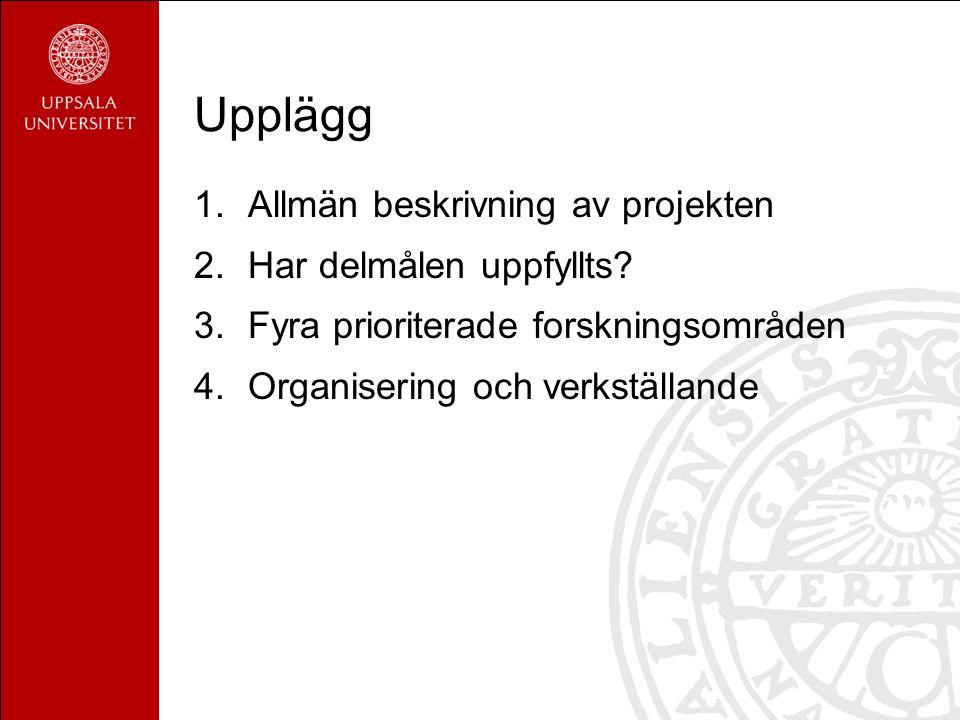 Upplägg 1.Allmän beskrivning av projekten 2.Har delmålen uppfyllts.