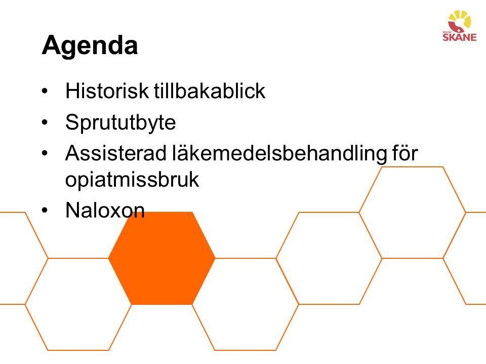 Agenda Historisk tillbakablick Sprututbyte Assisterad läkemedelsbehandling för opiatmissbruk Naloxon