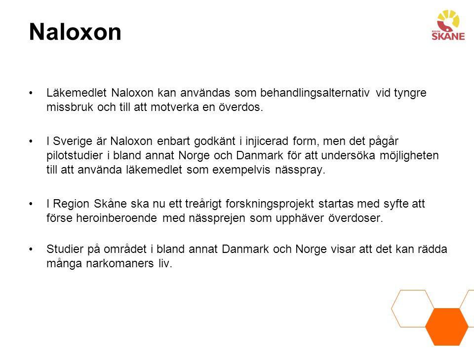 Naloxon Läkemedlet Naloxon kan användas som behandlingsalternativ vid tyngre missbruk och till att motverka en överdos. I Sverige är Naloxon enbart go