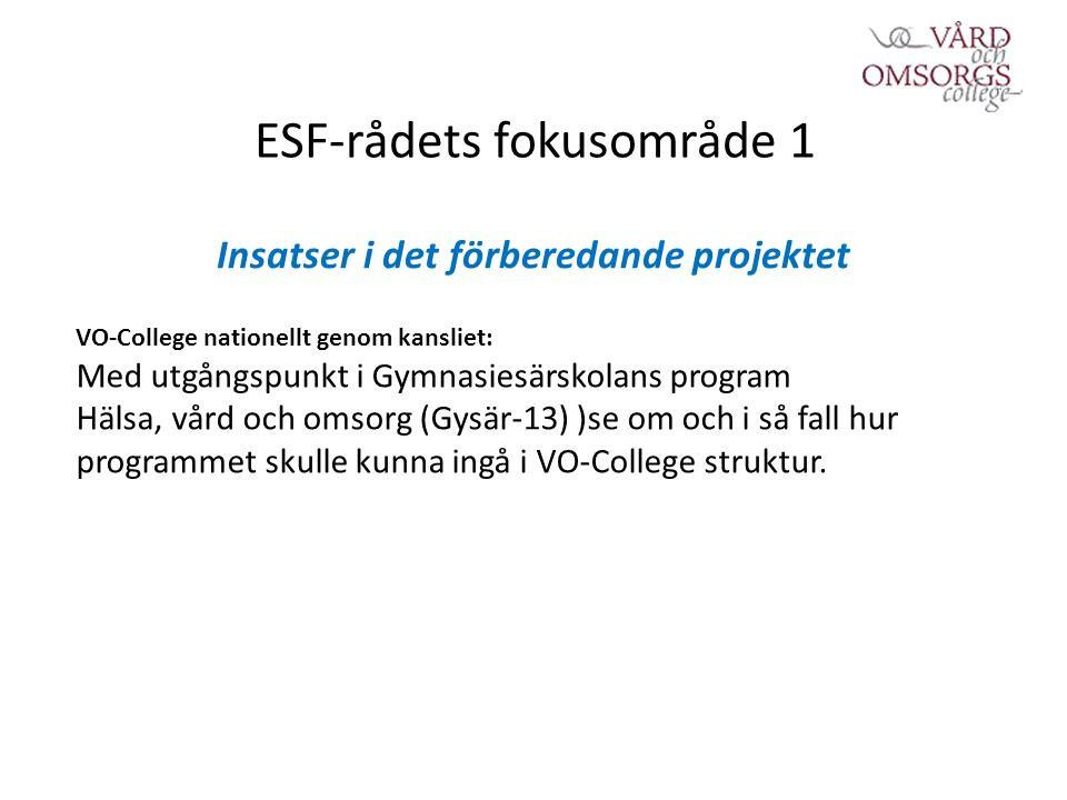 ESF-rådets fokusområde 1 Insatser i det förberedande projektet VO-College nationellt genom kansliet: Med utgångspunkt i Gymnasiesärskolans program Hälsa, vård och omsorg (Gysär-13) )se om och i så fall hur programmet skulle kunna ingå i VO-College struktur.