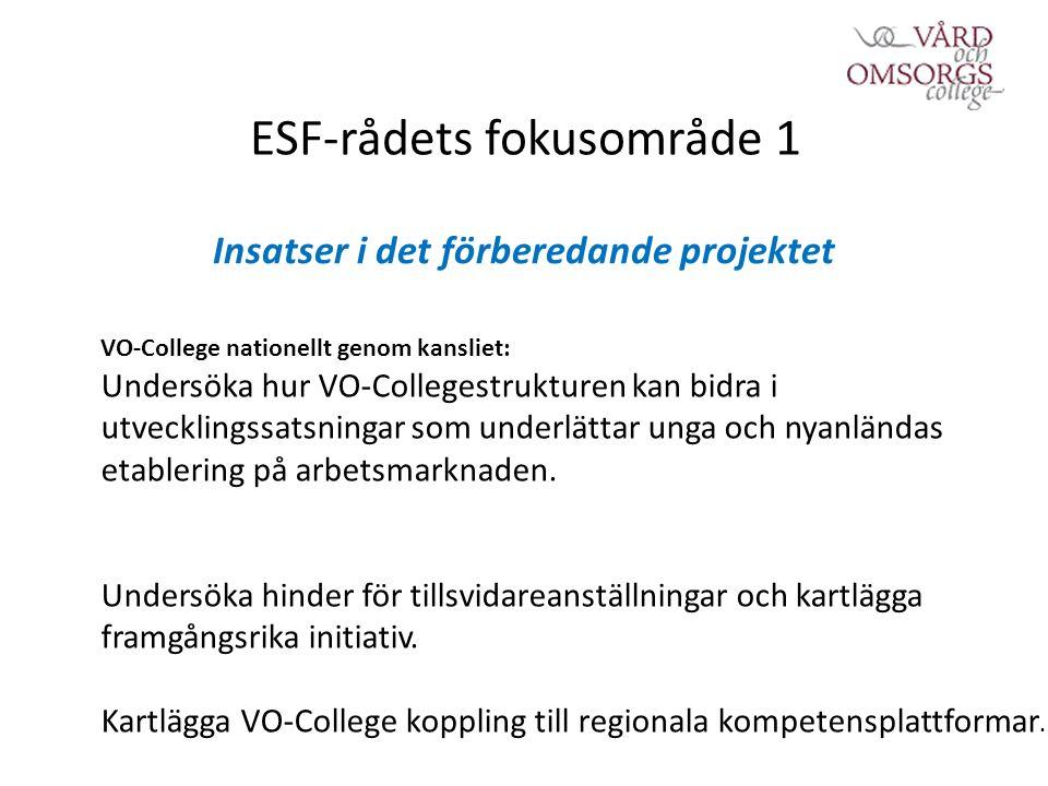 ESF-rådets fokusområde 1 Insatser i det förberedande projektet VO-College nationellt genom kansliet: Undersöka hur VO-Collegestrukturen kan bidra i utvecklingssatsningar som underlättar unga och nyanländas etablering på arbetsmarknaden.