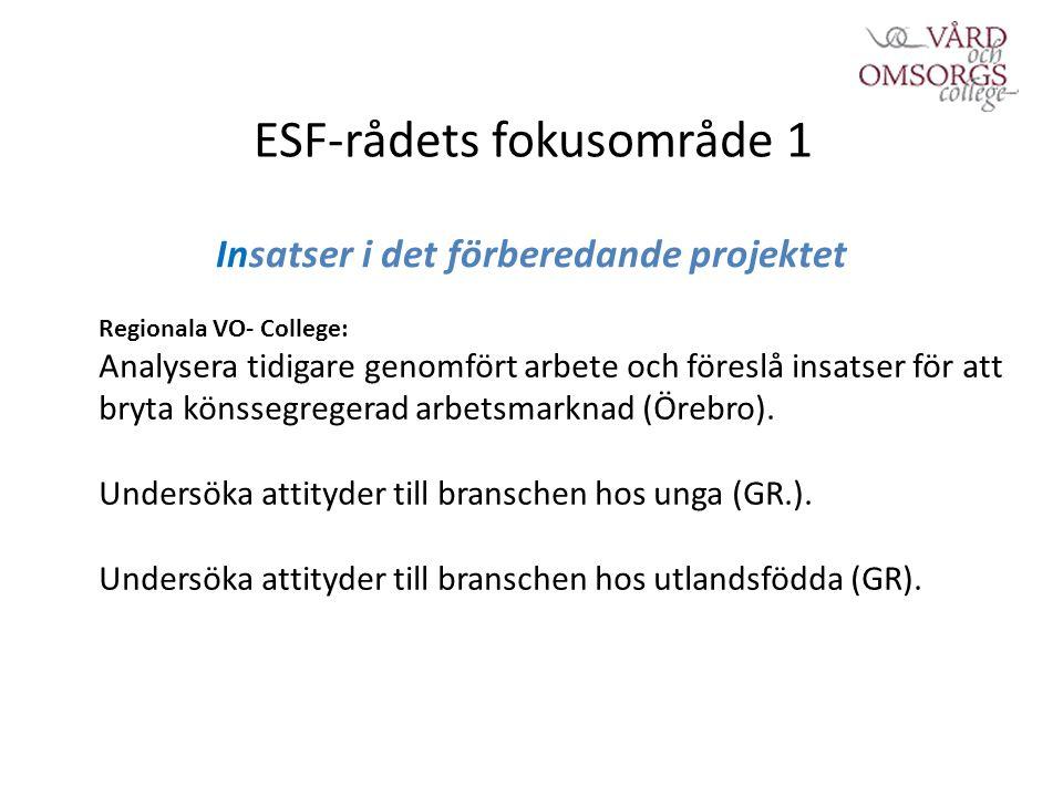 ESF-rådets fokusområde 1 Insatser i det förberedande projektet Regionala VO- College: Analysera tidigare genomfört arbete och föreslå insatser för att bryta könssegregerad arbetsmarknad (Örebro).