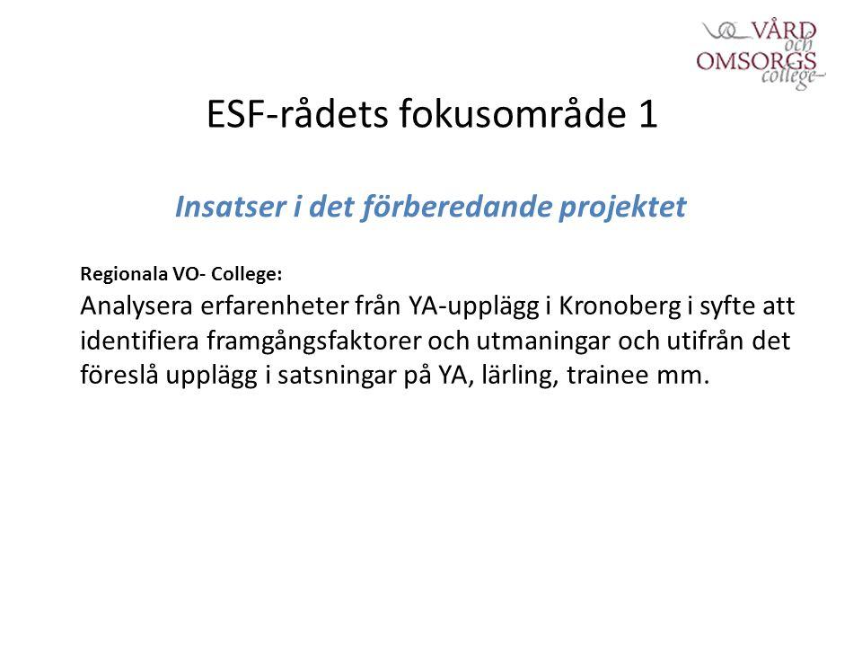 ESF-rådets fokusområde 1 Insatser i det förberedande projektet Regionala VO- College: Analysera erfarenheter från YA-upplägg i Kronoberg i syfte att identifiera framgångsfaktorer och utmaningar och utifrån det föreslå upplägg i satsningar på YA, lärling, trainee mm.