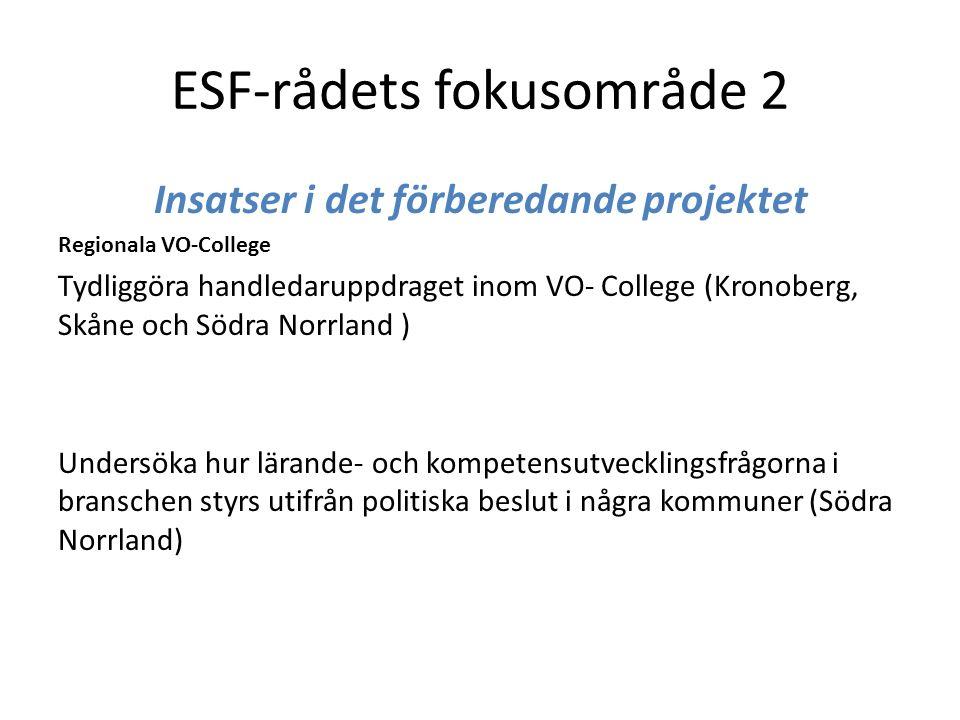 ESF-rådets fokusområde 2 Insatser i det förberedande projektet Regionala VO-College Tydliggöra handledaruppdraget inom VO- College (Kronoberg, Skåne och Södra Norrland ) Undersöka hur lärande- och kompetensutvecklingsfrågorna i branschen styrs utifrån politiska beslut i några kommuner (Södra Norrland)