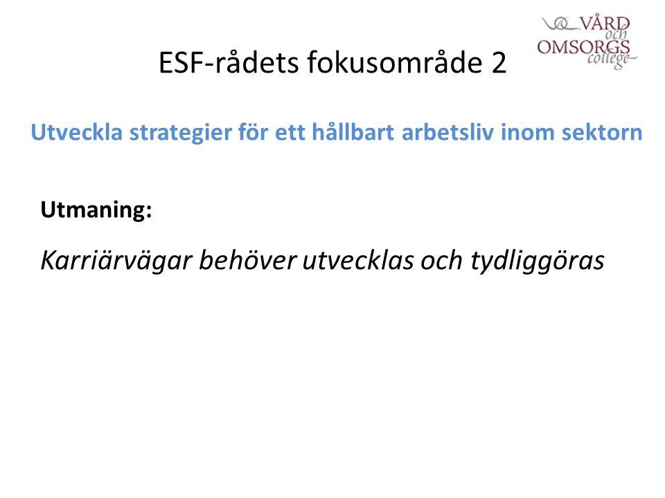 ESF-rådets fokusområde 2 Utveckla strategier för ett hållbart arbetsliv inom sektorn Utmaning: Karriärvägar behöver utvecklas och tydliggöras
