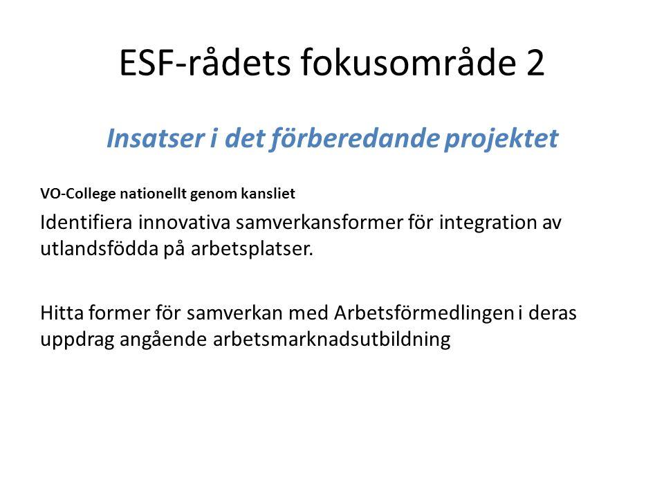 ESF-rådets fokusområde 2 Insatser i det förberedande projektet VO-College nationellt genom kansliet Identifiera innovativa samverkansformer för integration av utlandsfödda på arbetsplatser.