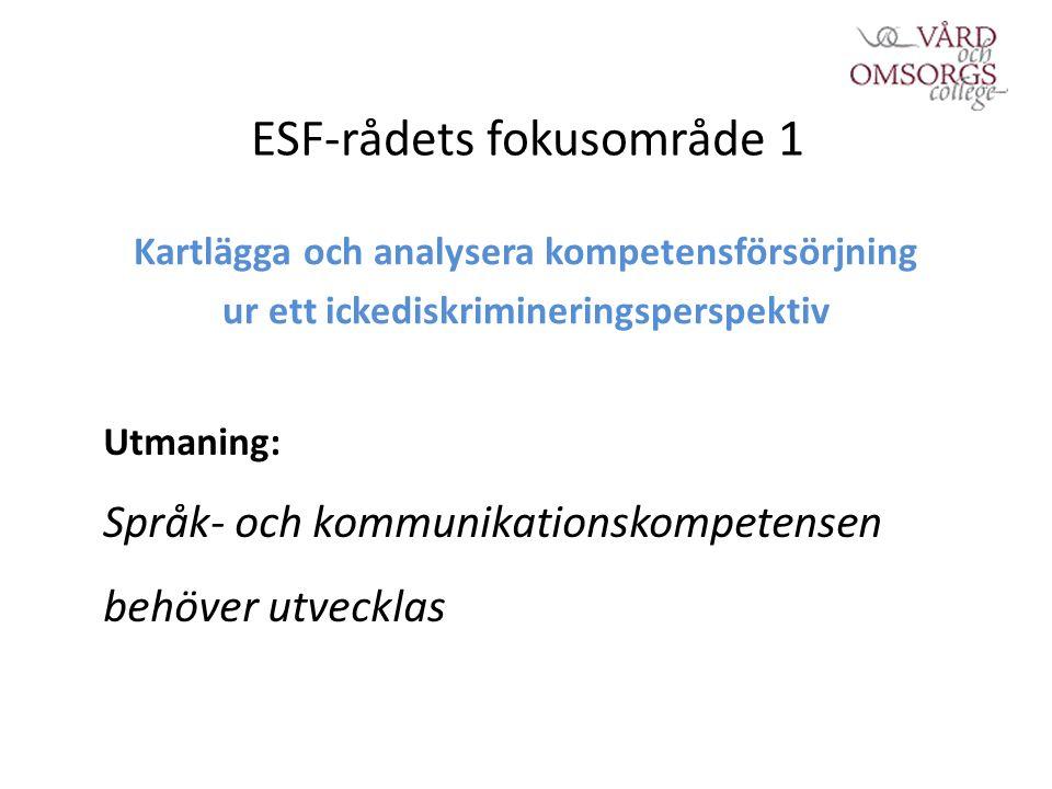 ESF-rådets fokusområde 1 Kartlägga och analysera kompetensförsörjning ur ett ickediskrimineringsperspektiv Utmaning: Språk- och kommunikationskompetensen behöver utvecklas