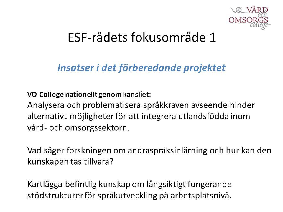 ESF-rådets fokusområde 1 Insatser i det förberedande projektet VO-College nationellt genom kansliet: Analysera och problematisera språkkraven avseende hinder alternativt möjligheter för att integrera utlandsfödda inom vård- och omsorgssektorn.