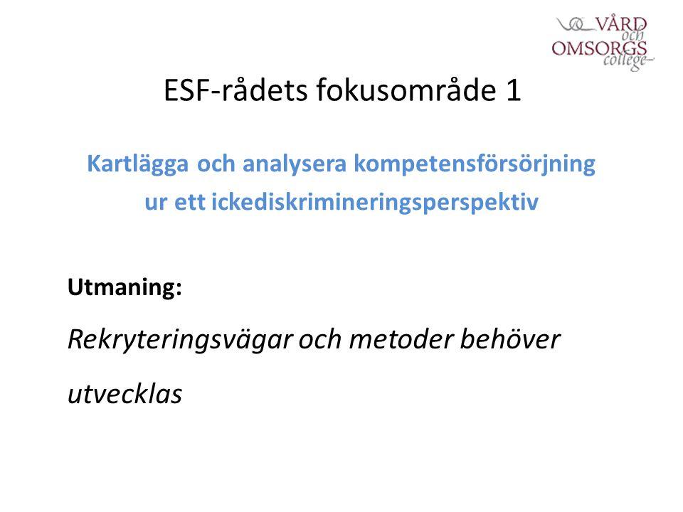 ESF-rådets fokusområde 1 Kartlägga och analysera kompetensförsörjning ur ett ickediskrimineringsperspektiv Utmaning: Rekryteringsvägar och metoder behöver utvecklas