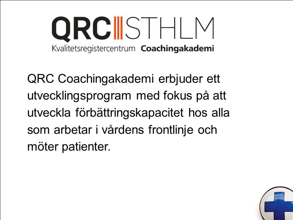 Coaching Coaching syftar till att stötta arbetet på kliniknivå genom utveckling av vårdgivarens insikter och färdigheter i hur man kan förbättra sin egen verksamhet och skapa de rutiner och arbetsprocesser som krävs för att åstadkomma ständiga förbättringar.
