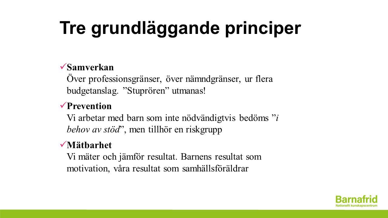 Tre grundläggande principer Samverkan Över professionsgränser, över nämndgränser, ur flera budgetanslag.